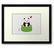 Cute Panda with Bamboo Bathtub  Framed Print