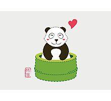 Cute Panda with Bamboo Bathtub  Photographic Print
