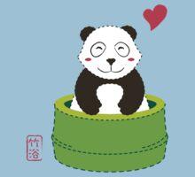 Cute Panda with Bamboo Bathtub  One Piece - Short Sleeve