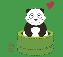 Cute Panda with Bamboo Bathtub  Baby Tee