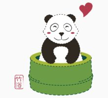 Cute Panda with Bamboo Bathtub  Kids Tee