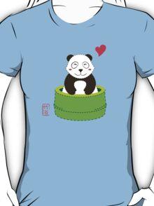 Cute Panda with Bamboo Bathtub  T-Shirt
