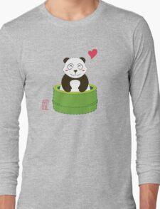 Cute Panda with Bamboo Bathtub  Long Sleeve T-Shirt