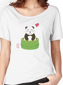 Cute Panda with Bamboo Bathtub  Women's Relaxed Fit T-Shirt