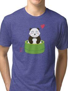 Cute Panda with Bamboo Bathtub  Tri-blend T-Shirt
