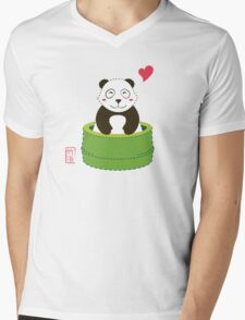Cute Panda with Bamboo Bathtub  Mens V-Neck T-Shirt