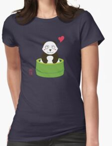 Cute Panda with Bamboo Bathtub  Womens Fitted T-Shirt