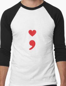 Semicolon; Heart Red Men's Baseball ¾ T-Shirt