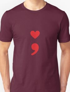 Semicolon; Heart Red Unisex T-Shirt