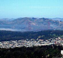 GOLDEN GATE BRIDGE FROM TWIN PEAKS SAN FRANCISCO by JAYMILO