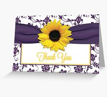 Yellow Sunflower Purple Damask Floral Thank You Card Greeting Card