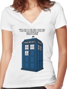 I'm in a Blue Box of Emotion Women's Fitted V-Neck T-Shirt
