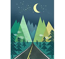 the Long Road at Night Photographic Print