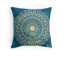 Blue Organic Boho Mandala Throw Pillow