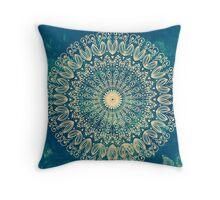 Blue Organic Boho Mandala Throw Pillow