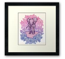 Cute Baby Elephant in pink, purple & blue Framed Print