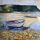 Beached Boat and Pebbles Runswick Bay by Sue Nichol