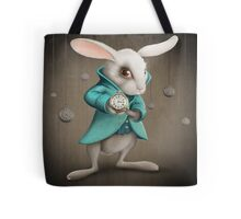 white rabbit with clock Tote Bag