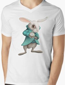 white rabbit with clock Mens V-Neck T-Shirt