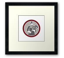 Plumber Holding Giant Wrench Woodcut Circle Framed Print