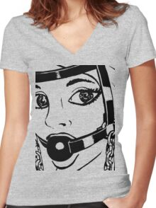 BDSM HH2 Trainer Head Harness (ZOOM) Women's Fitted V-Neck T-Shirt