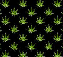 Marijuana Leaves Pattern Black II by cnstudio