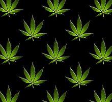 Marijuana Leaves Pattern Black Large II by cnstudio