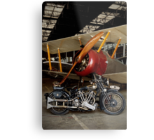 Brough Superior SS 100 and Biplane Metal Print