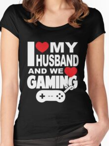 I LOVE MY HUSBAND AND WE LOVE GAMING Women's Fitted Scoop T-Shirt