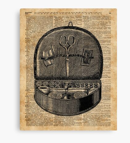 Sewing Tools Dictionary Art Canvas Print