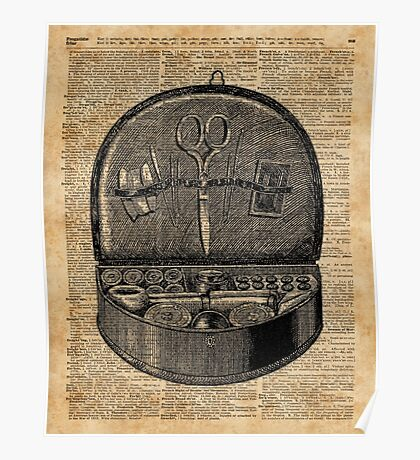 Sewing Tools Dictionary Art Poster