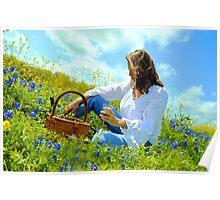 Woman in Blue Bonnet field Poster