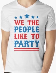 We the People Like to Party Mens V-Neck T-Shirt