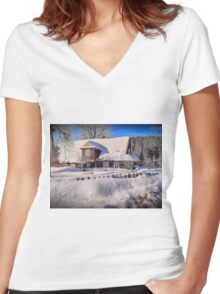 Sunny day after a snow storm  Women's Fitted V-Neck T-Shirt