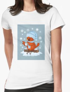 Christmas Cardinal Womens Fitted T-Shirt
