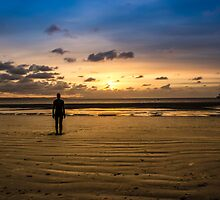 Another Place - Crosby Beach Iron Man at Sunset by Paul Madden