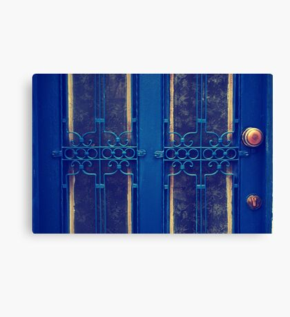 blue door in bodrum street Canvas Print