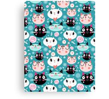 pattern of love funny cats Canvas Print