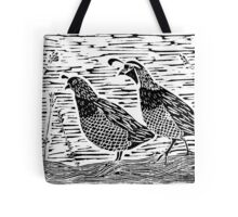 Pair of Quail Blockprint Tote Bag