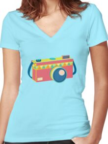 Say Cheese! - retro Camera Women's Fitted V-Neck T-Shirt