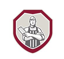 Butcher With Meat Cleaver Shield Retro by patrimonio