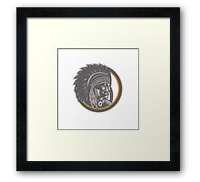 Native American Indian Chief Head Woodcut Framed Print