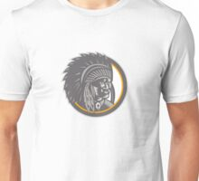Native American Indian Chief Head Woodcut Unisex T-Shirt