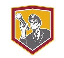 Security Guard With Flashlight Shield Retro by patrimonio