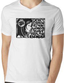 Headphone Girl BnW Mens V-Neck T-Shirt