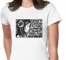 Headphone Girl BnW Womens Fitted T-Shirt