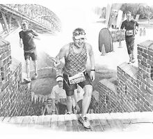 Marathon runner drawing by Mike Theuer