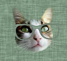 Green Hipster Cat With an Oil Touch by silvianeto