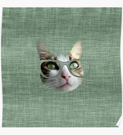 Green Hipster Cat With an Oil Touch Poster