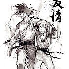 Dragon Ball Z Goku and Krillin with Calligraphy Friendship by Mycks